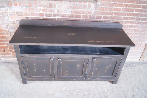 Custom Made Rustic Media Cabinet, Black