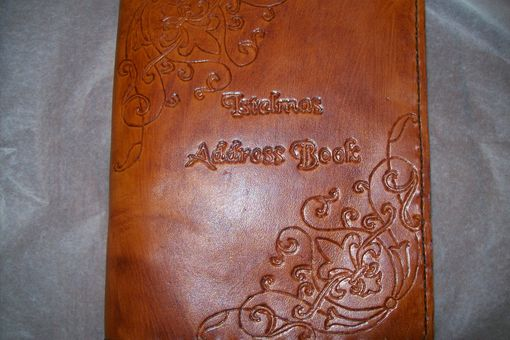 Custom Made Custom Leather Address Book With Scroll Design, Personalization