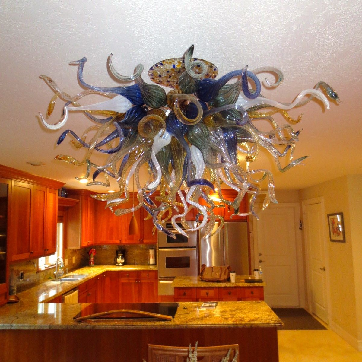 Custom Made Hand Blown Glass Chandelier Lighting Amber Blue White