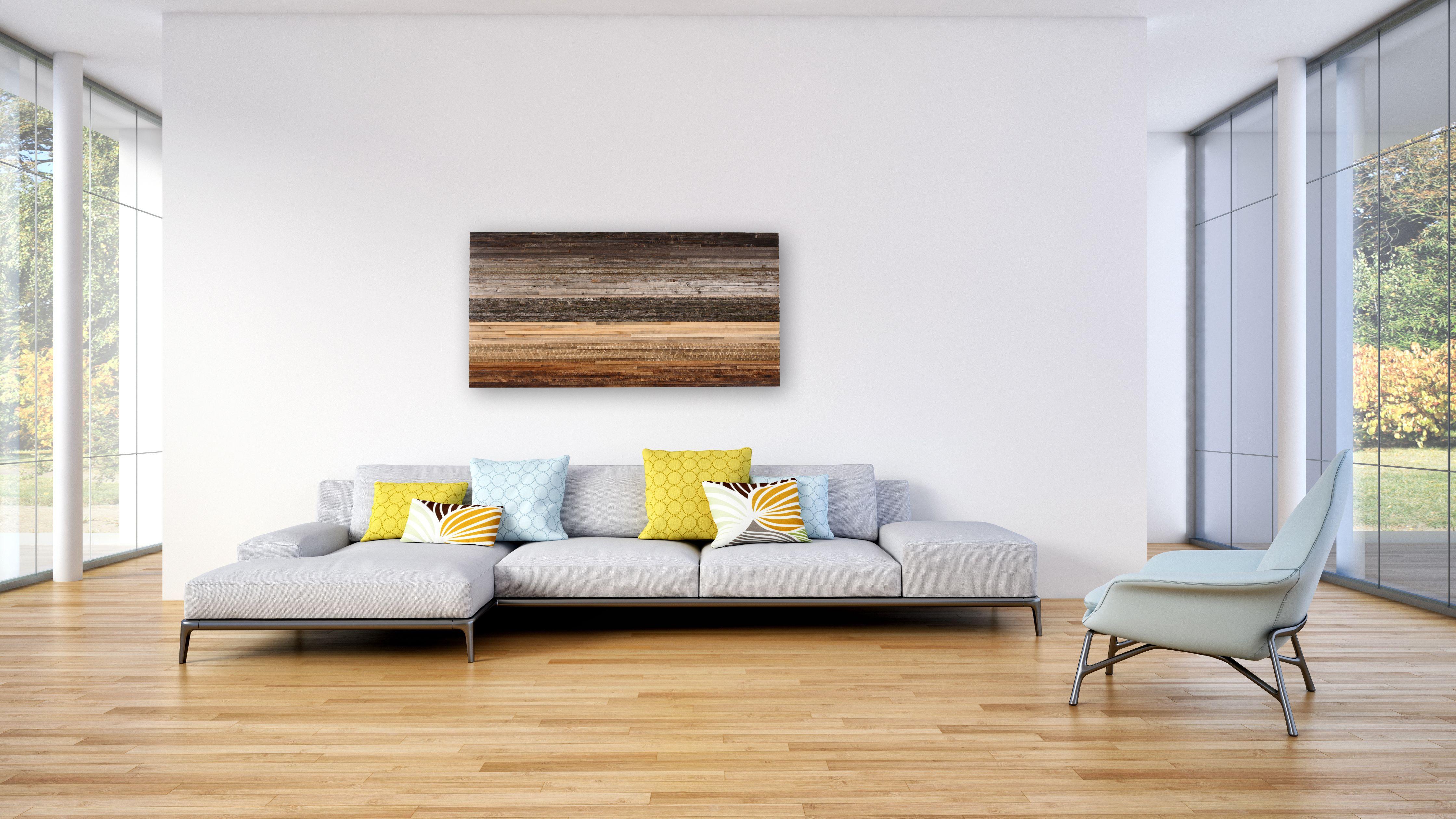 Custom Made Reclaimed Wood Wall Art, Gradient Artwork, Large Wall