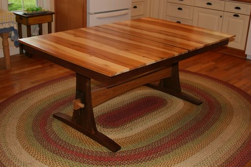 "Custom Made Expanding Farmhouse Table, Trestle Table, Table With Leaves, Solid Wood, Walnut, ""Hickory Ridge"""