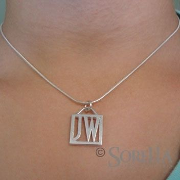 Custom Made Two Initial Square Pendant In Sterling Silver
