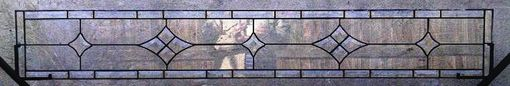 Custom Made Stained Glass Transom Window Panel - Clear Bevel Stars  (W-23)