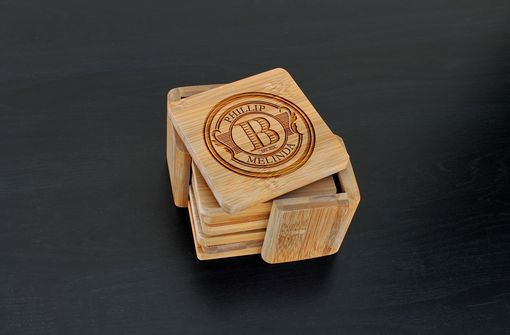 Custom Made Custom Bamboo Coasters, Custom Engraved Coasters --Cst-Bam-Phillip Melinda