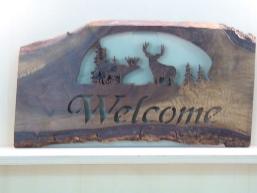 Custom Made Live Edge Deer Welcome Sign