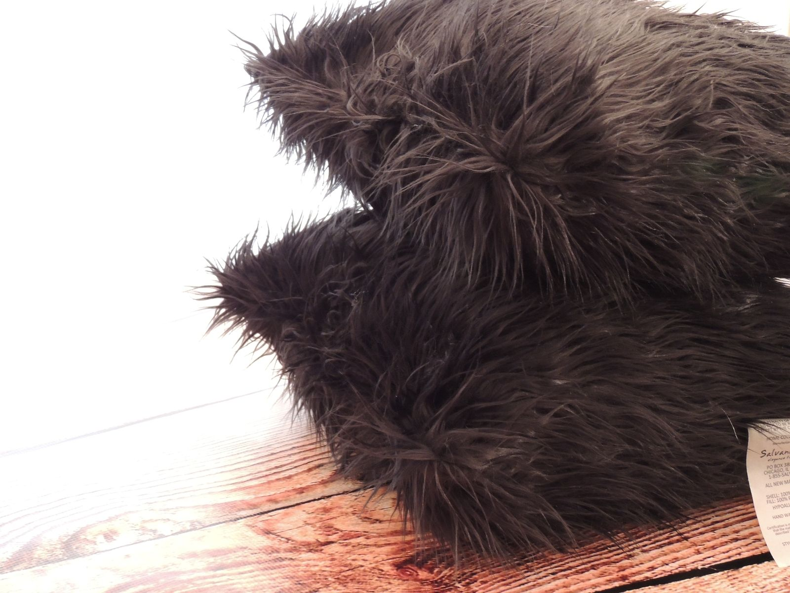 Hand Crafted Mongolian Black Faux Fur 18 X 18 In Decorative