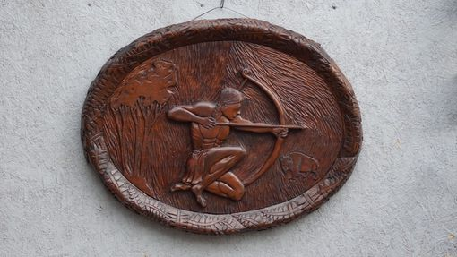 Custom Made Young Native American Archer Wall Art Wood Carving