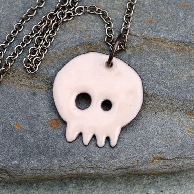 Custom Made Enamel Skull Pendant, Dia De Los Muertos Necklace, Copper, Tan Ivory, Enameled Jewelry - Baby Allie
