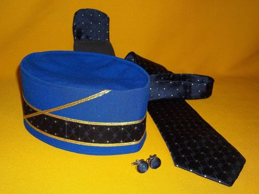 Custom Made 4pc Set. Royal Blue Gaberdine Accented W/ Silk To Match Neck Tie, Pocket Puff, Covered Cuff Links