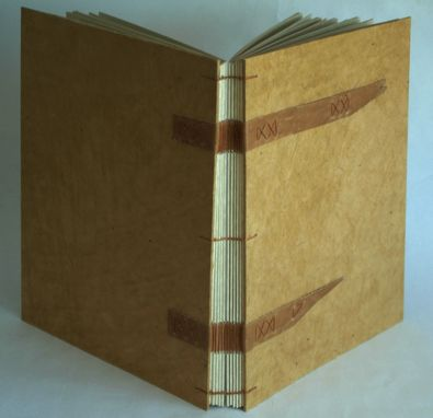Custom Made Hand Bound Blank Book With Coptic Binding And Leather Straps
