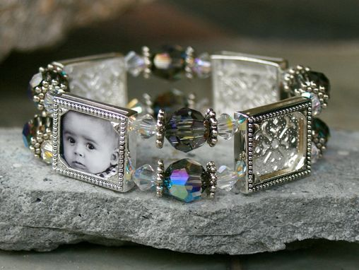 Custom Made Four-Frame Photo Bracelet With Black Diamond And Clear Bicone Crystals