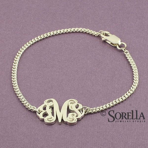 Custom Made Personalized Script Monogram Bracelet In Sterling Silver