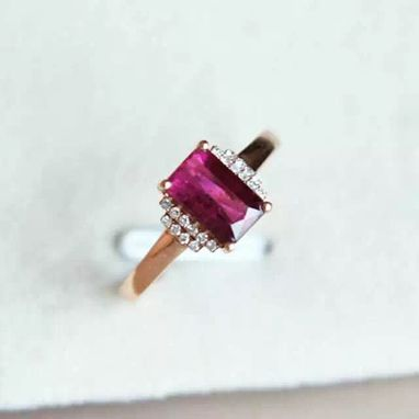 Custom Made 1.32 Carat Tourmaline Ring In 14k Rose Gold