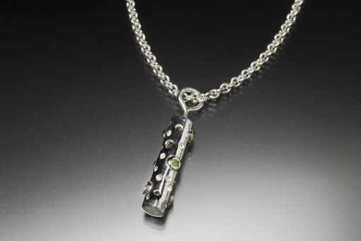 Custom Made Tube Pendant With Drilled Holes In Sterling Silver With 6 Green Peridot