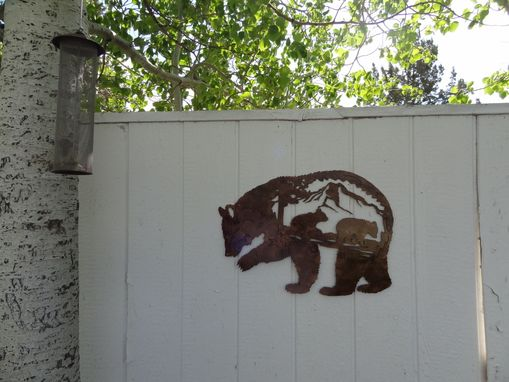 Custom Made Bear Mountain Scene With Bear Cub Metal Wall Sign Country Rustic Home Decor
