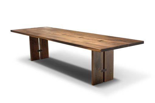 Custom Made Magnolia Walnut Dining Table With Butterfly Ties