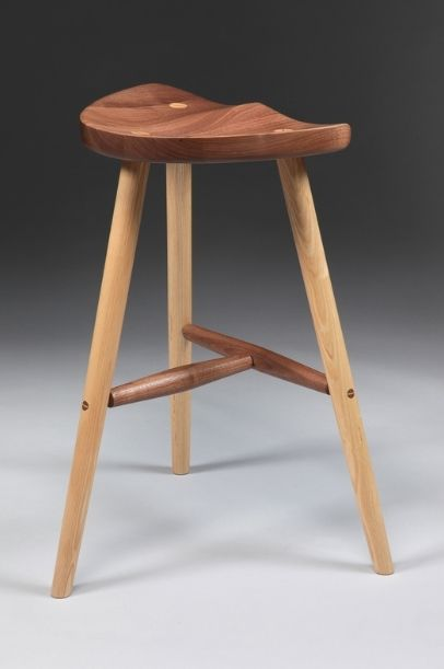 Hand Crafted Wooden Stool With Carved Seat By Appalachian