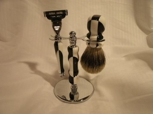 Custom Made Black And White Corian Razor And Brush Shaving Set