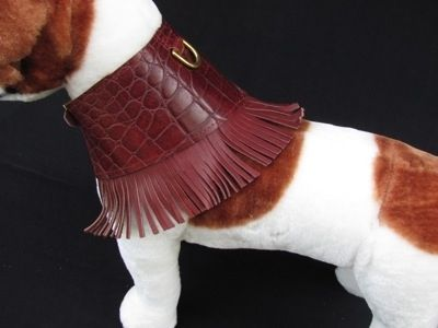 Custom Made Patterned Leather Fringed Dog Collar.