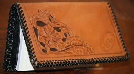 Custom Made Hand Tooled Leather Checkbook Cover