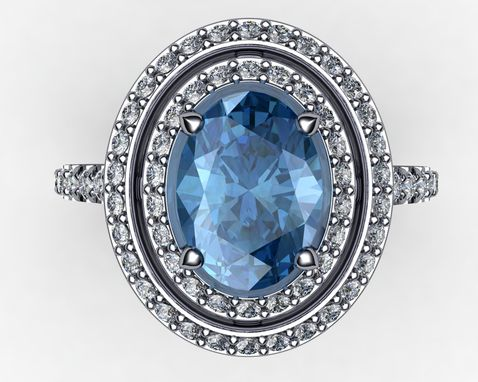 Custom Made Star Travel Diamond Top Blue Topaz 14k Gold Rng