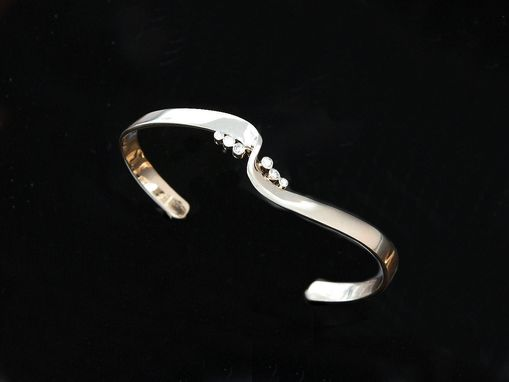 Custom Made 18kt White Gold Hand Forged Bracelet With .30ct Total Weight Diamonds
