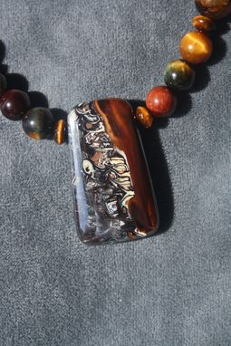 "Custom Made Incredible, Natural Australian Boulder Opal ""Ghoulish Ride"" Picture Stone And Tiger Eye Necklace"