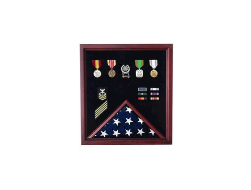 Custom Made Flag And Medal Display Case - Military Shadow Box