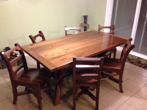 Custom Made Custom Walnut Table And Chairs