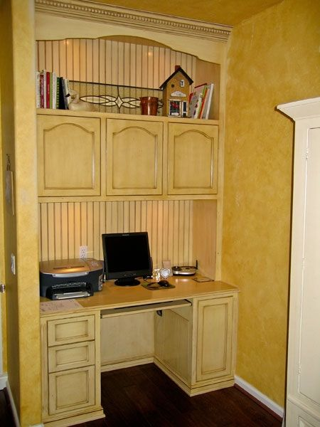 Handmade Built In Home Office Desk And Storage Cabinet By
