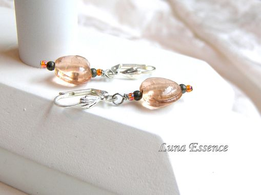 Custom Made Nude Pink Glass Heart Pyrite Earrings