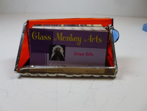 Custom Made Stained Glass Business Card Holder In Primary Colors
