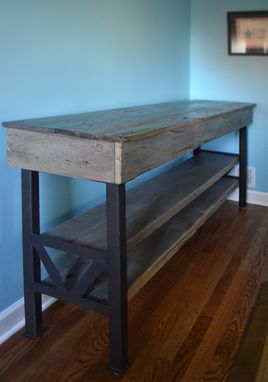 Custom Made Reclaimed Oak Industrial Dining Console