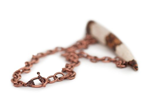 Custom Made Antler Bone Necklace With Western Pattern On Copper Chain