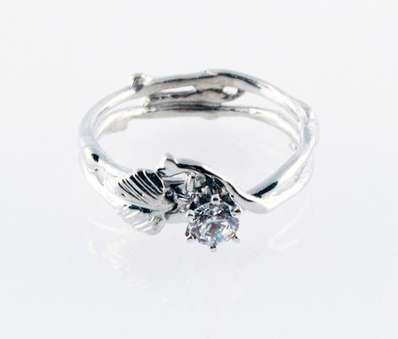 Custom Made Simply Diamond Eco-Engagement Ring - In 14k White Gold