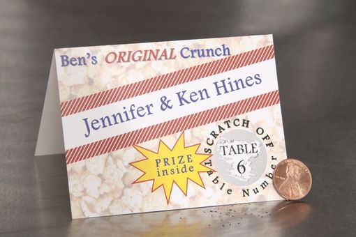 Custom Made Wedding Place Cards - Cracker Jack Style Scratch Off - Escort Cards Favor Tag