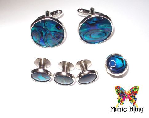 Custom Made Paua Shell Tuxedo Studs And Cufflink Set