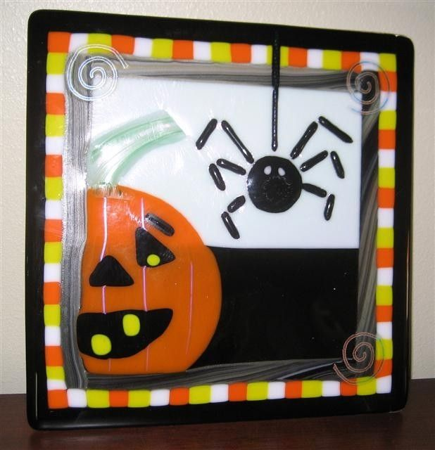 Hand Made Halloween Fused Glass Plate By Grateful Glass