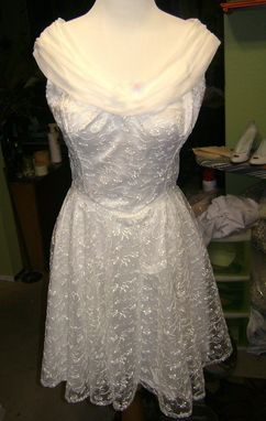 Custom Made Custom Fit 1950s Style Lace Short Wedding Dress And Chiffon Boat Neck And Cape