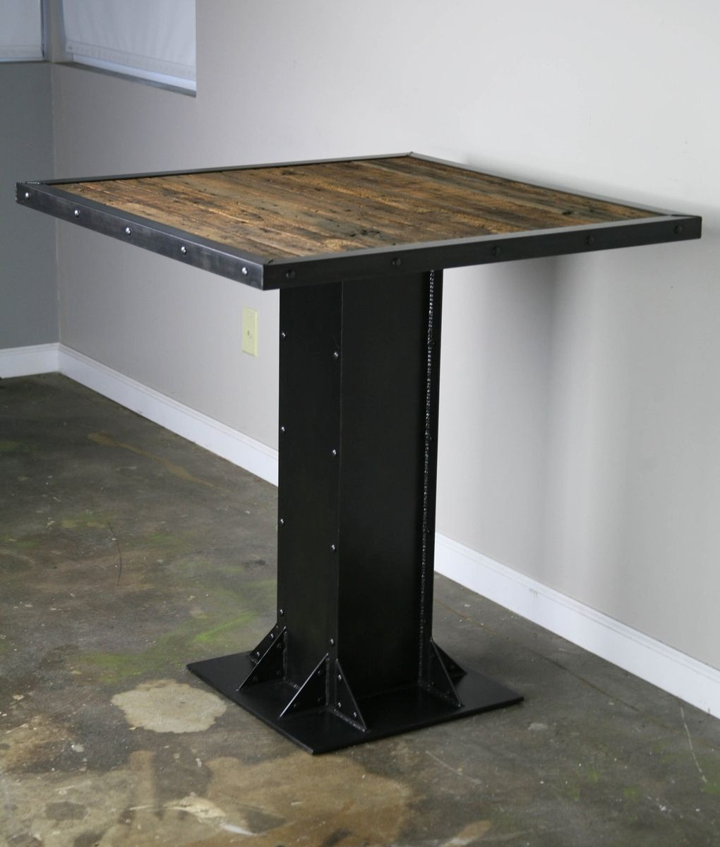 bistro dining table modern industrial design steel reclaimed wood