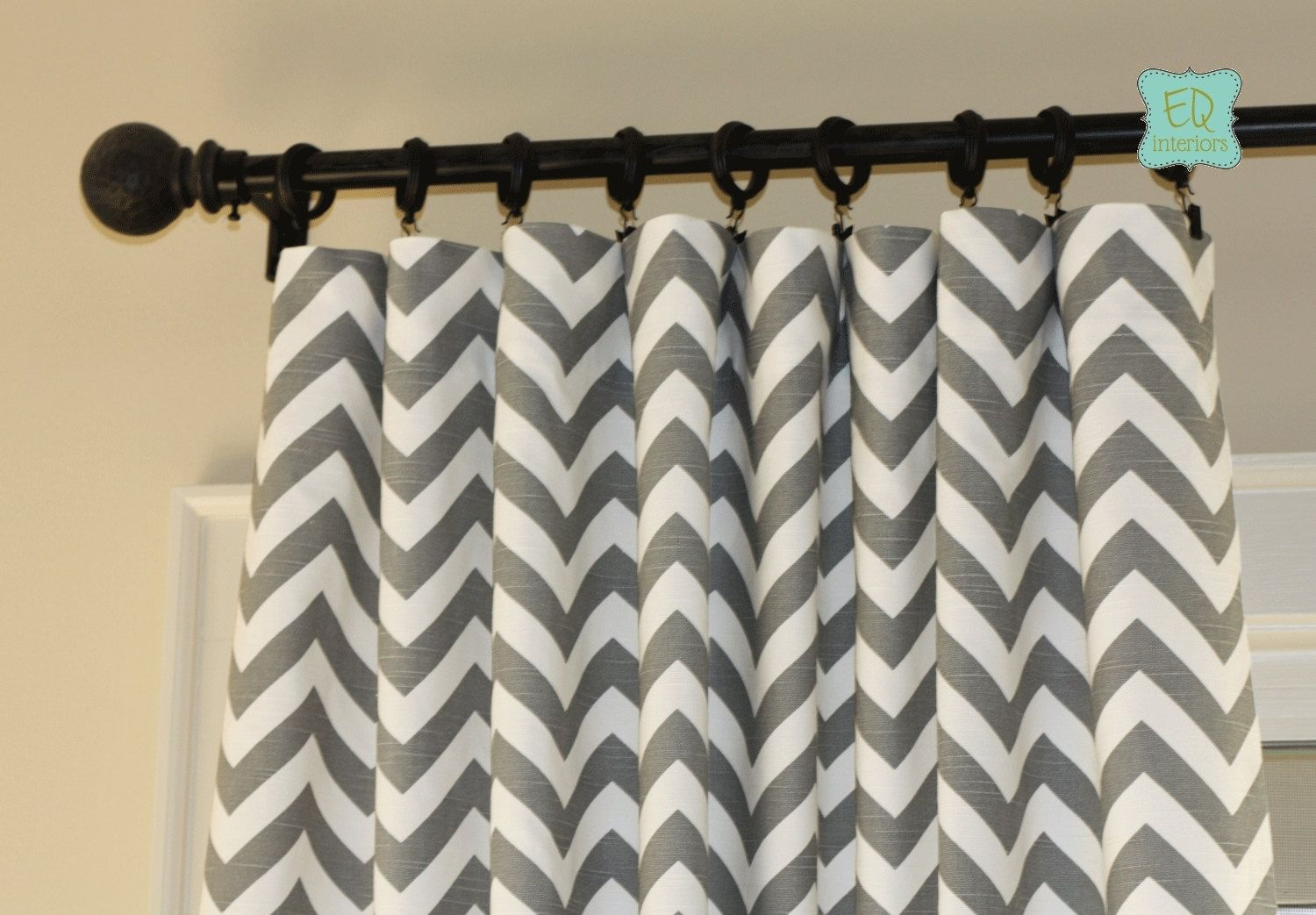 Designer curtain panels - Custom Made Custom Designer Curtain Panels Ash Gray Grey Zig Zag Chevron On Cotton Slub Linen