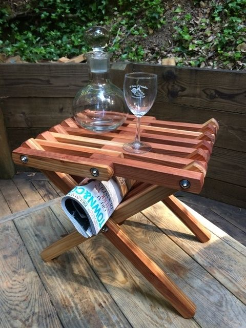 Custom Folding Redwood Side Table By CAZADERO WOODWORKS CustomMadecom - Redwood side table