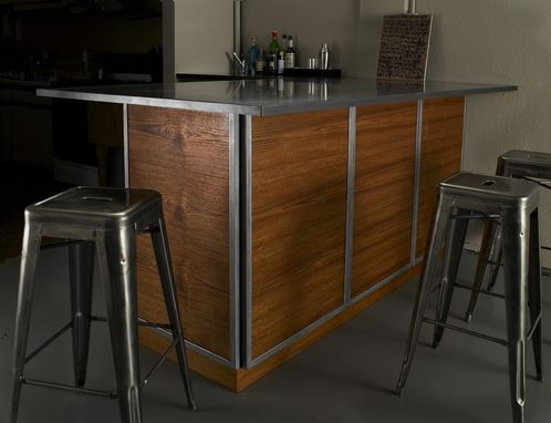 Custom Made Teak And Steel Private Bar / Client Area