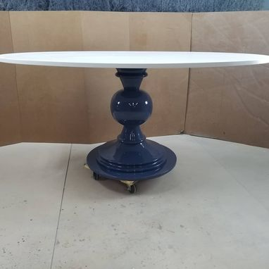 Custom Made Oval Dining Room Table With Turned Base Pedestal Banquette