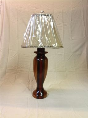Custom Made Handmade Mahogany, Peruvian Walnut And Padouk Wood Table Lamp