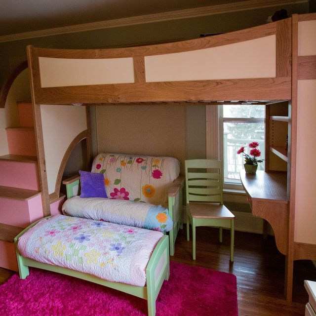Handmade Girl s Twin Loft   Bunk Bed With Stairs d953e1a92f