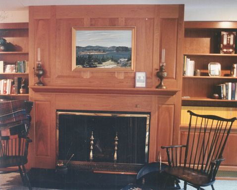 Custom Made Cherry Cabinetry And Fireplace Surround
