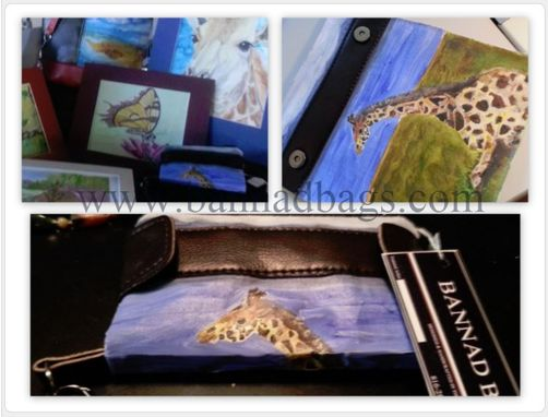 Custom Made Giraffe Wristlet Wallet, Fine Art , Leather, Clutch, Handbag Featuring Original Acrylic Painting