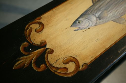 Custom Made Sofa Table In Black With Hand Painted Fish