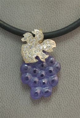 Custom Made Hand Carved Amethyst Grape Pendant